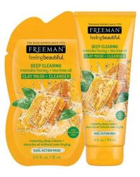 FREEMAN Deep Clearing Manuka Honey + Tea Tree Oil Clay Mask + Cleanser