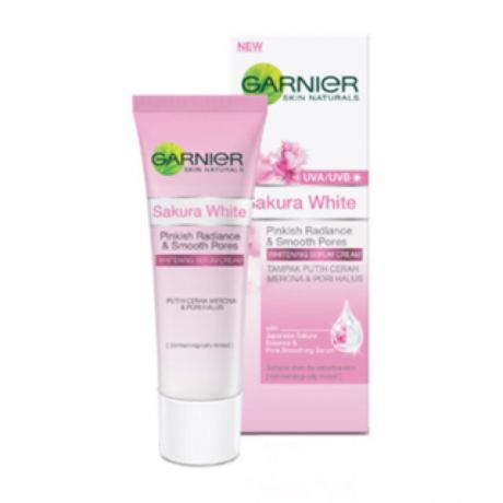Garnier Sakura White Pinkish Radiance & Smooth Pores Whitening Serum Cream UVA/UVB Filters